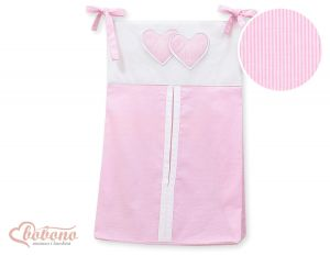 Diaper bag- Hanging Hearts pink strips