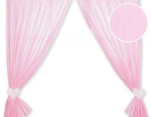 Curtains for baby room- Hanging Hearts pink strips
