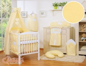 Bedding set 7-pcs with canopy- Hanging Hearts yellow strips