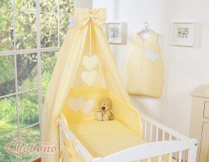 Bedding set 5-pcs with canopy- Hanging Hearts yellow strips
