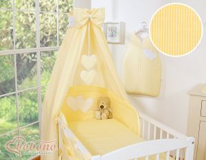 Canopy made of fabric- Hanging Hearts yellow strips