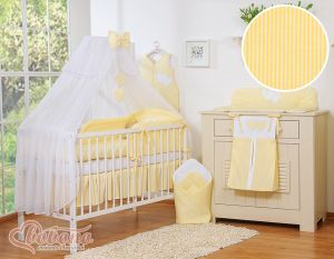 Bedding set 5-pcs with mosquito-net- Hanging Hearts yellow strips