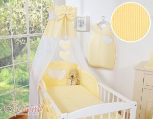 Canopy made of Chiffon- Hanging Hearts yellow strips