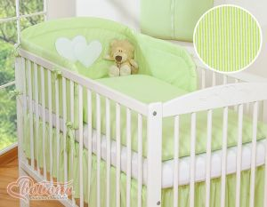 Bedding set 3-pcs- Hanging Hearts green strips