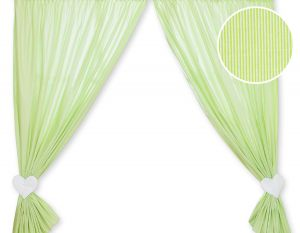 Curtains for baby room- Hanging Hearts green strips