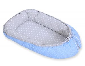 Baby nest- white dots on grey/ white polka dots on blue