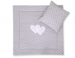 Baby pram set 2pcs- Hanging hearts white dots on grey