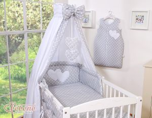 Bedding set 5-pcs- Hanging Hearts white dots on grey
