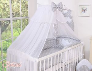 Mosquito-net made of chiffon- Hanging Hearts white dots on gray