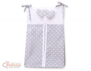 Diaper bag- Hanging Hearts white dots on grey