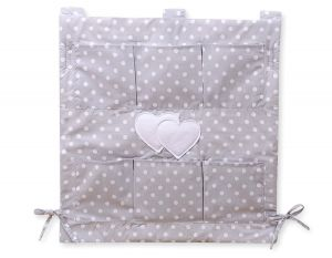 Cot tidy- Hanging Hearts white dots on grey