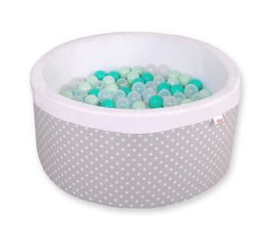 Ball-pit minky  with balls - white dots on grey