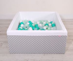 Ball-pit minky with balls 200pcs -white dots on grey