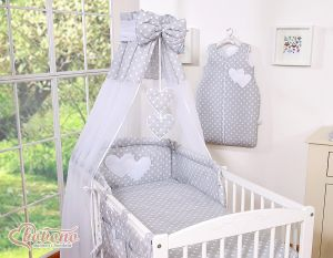 Canopy made of Chiffon- Hanging Hearts white dots on grey