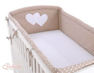 Universal bumper XXL- Hanging Hearts white dots on brown