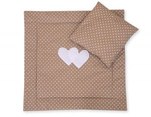 Baby pram set 2pcs- Hanging hearts white dost on brown