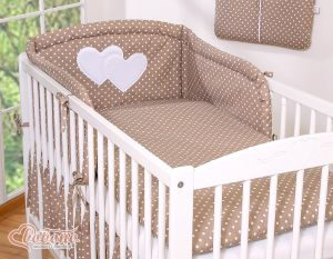 Bedding set 3-pcs Hanging Hearts white dots on brown