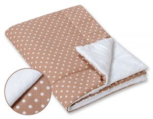 Double-sided blanket minky- White dots on brown