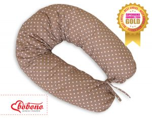 Pregnancy pillow- White polka dots on brown