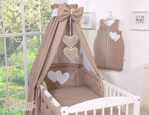 Canopy made of fabric- Hanging Hearts white dots on brown