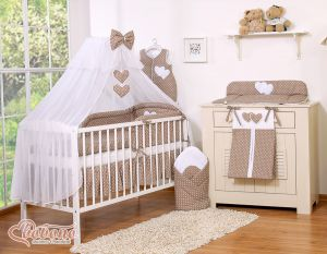 Bedding set 7-pcs with mosquito-net- Hanging Hearts white dots on brown