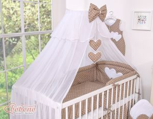 Mosquito-net made of chiffon- Hanging Hearts white dots on brown