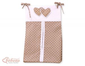 Diaper bag- Hanging Hearts white dots on brown