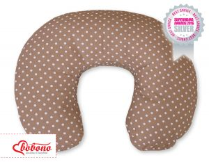 Feeding pillow- Hanging hearts white dots on brown