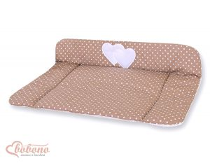 Soft changing mat- Hanging Hearts white dots on brown