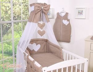 Canopy made of Chiffon- Hanging Hearts white dots on brown