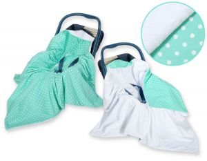 Double-sided car seat blanket- White dots on mint