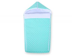 Pram sleeping bag- white dots on mint