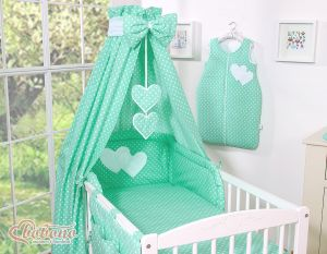 Bedding set 7-pcs with canopy- Hanging Hearts white dots on mint