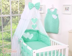 Bedding set 5-pcs- Hanging Hearts white dots on mint