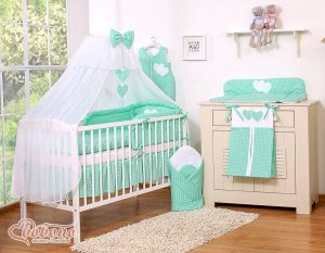 Bedding set 7-pcs with mosquito-net- Hanging Hearts white dots on mint
