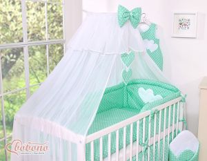 Mosquito-net made of chiffon- Hanging Hearts white dots on mint