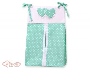 Diaper bag- Hanging Hearts white dots on mint