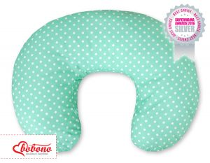 Feeding pillow- Hanging hearts white dots on mint