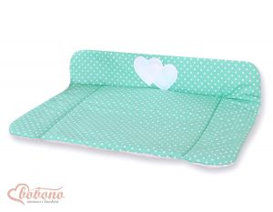 Soft changing mat- Hanging Hearts white dots on mint