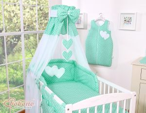 Canopy made of Chiffon- Hanging Hearts white dots on mint