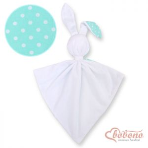 Cuddly rabbit double-sided- white dots on mint