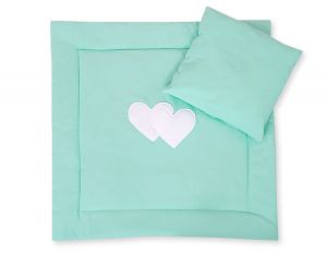Baby pram set 2pcs- Hanging hearts mint