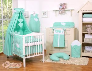 Bedding set 11-pcs with canopy- Hanging Hearts mint
