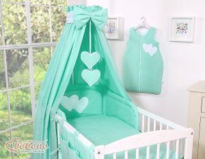 Bedding set 7-pcs with canopy- Hanging Hearts mint