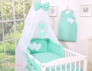 Bedding set 5-pcs- Hanging Hearts mint