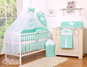 Bedding set 5-pcs with mosquito-net- Hanging Hearts mint