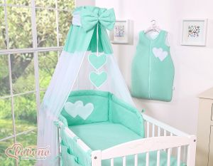 Canopy made of Chiffon- Hanging Hearts mint