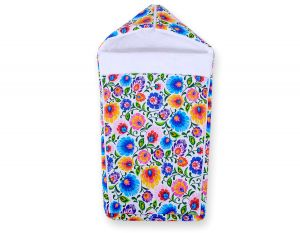 Pram sleeping bag- Floral pattern white