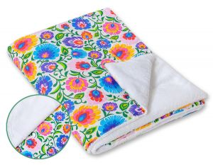 Double-sided blanket minky- Floral pattern white