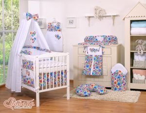 Bedding set 11-pcs with canopy- Hanging Hearts flower pattern